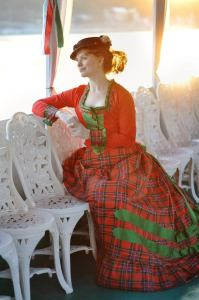 Victorian Red and Green Walking Dress, 1870s Plaid Bustle Gown