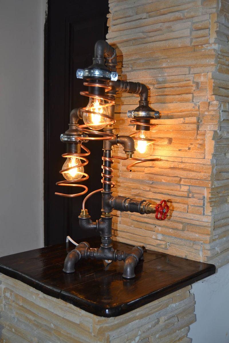 Industrial Pipe Lamp - Pipe Light - Table Lamp - Lamp - Steampunk - Desk Lamp - Table Light - Childrens Light - night light -Copper lamp
