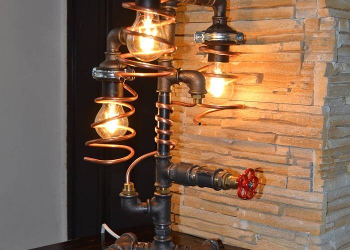 Industrial Pipe Lamp - Pipe Light - Table Lamp - Lamp - Steampunk - Desk Lamp - Table Light - Childrens Light - night light -Copper lamp