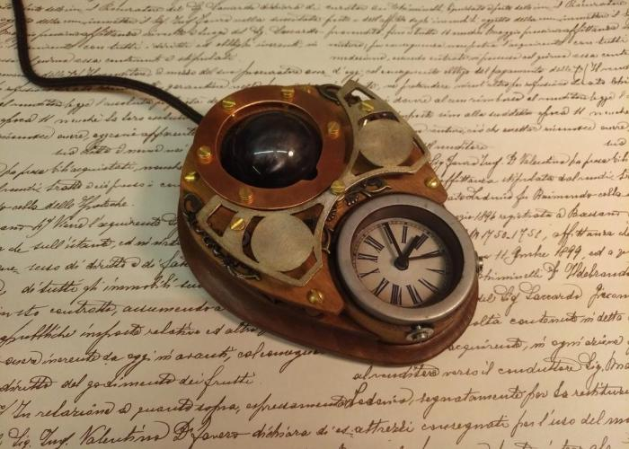 Steampunk trackball mouse.