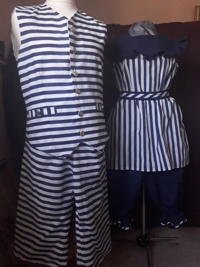 Steampunk Victorian Bathing Costume Swimsuit. blue  his and hers