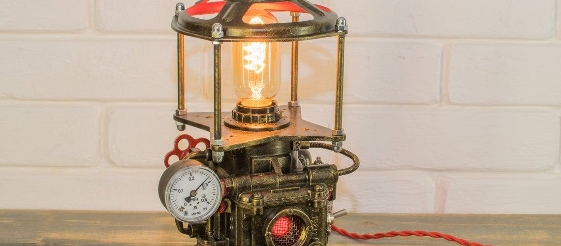 Industrial Steampunk Lamp. Created and sold by Zero Lab Studio. teacher