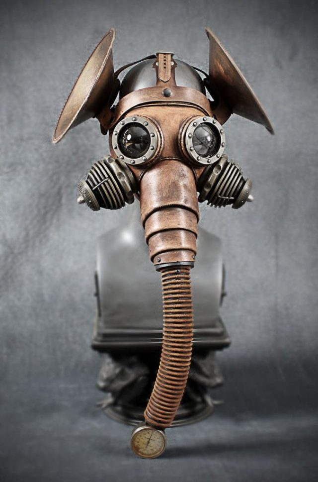 Pachydermous Leather mask with copper ears 1