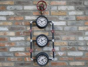 Triple steampunk industrial pipe clock.