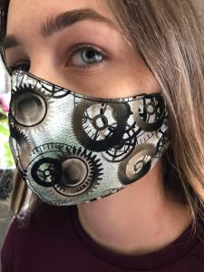 Cogs Face mask, reusable, 100% cotton fabric multiple layers, dust, airpolution, nonsterile non medical protection, all sizes, bikers, goth