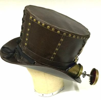 brown Leatherette studded Top Hat 3