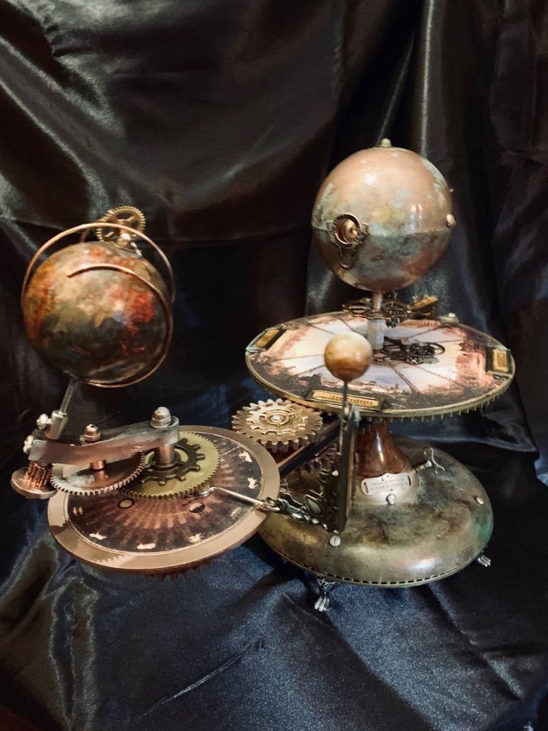 Jules Verne Steampunk Inspired Tellurian Orrery Solar System Orbiter Model 1