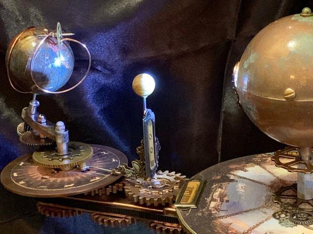 Jules Verne Steampunk Inspired Tellurian Orrery Solar System Orbiter Model 3