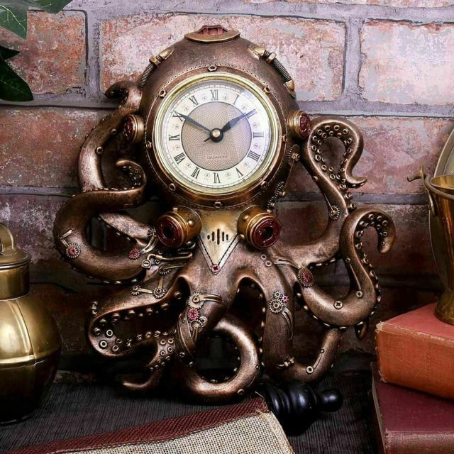 Octoclock Steampunk Octopus Gothic Brass Gift Decor Squid Wall Clock - 26cm