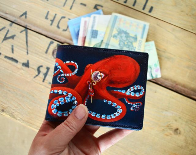 Hand-Painted Leather Steampunk Octopus Wallet.