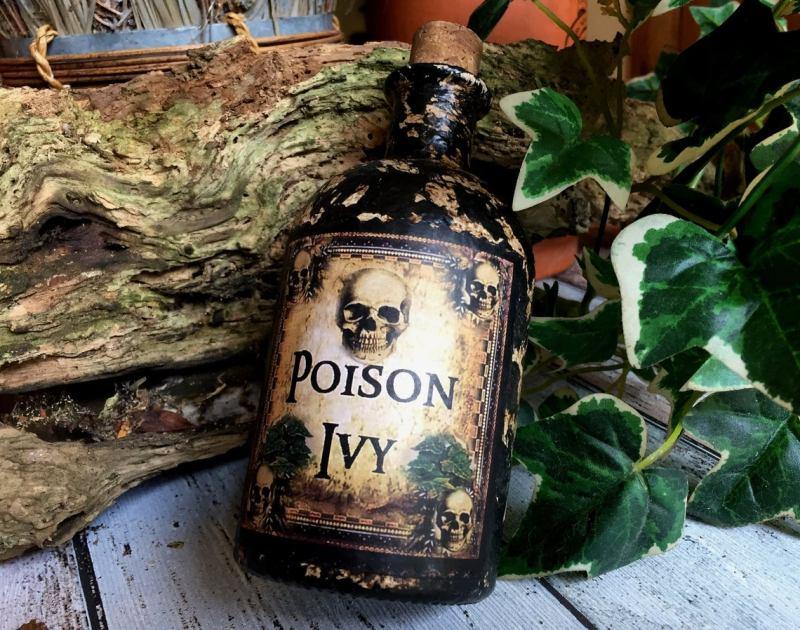 Steampunk Bottle. Poison Ivy. Poison Ivy Bottle. Gothic Bottle. Halloween Decor. Steampunk Decor. Steampunk Gift. Poison Bottle. Poison. 1