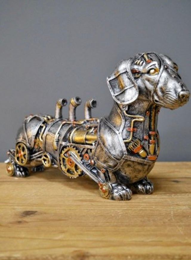 Steampunk Dachshund Sausage Dog Sculpture. 4