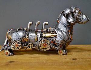 Steampunk Dachshund Sausage Dog Sculpture. 5