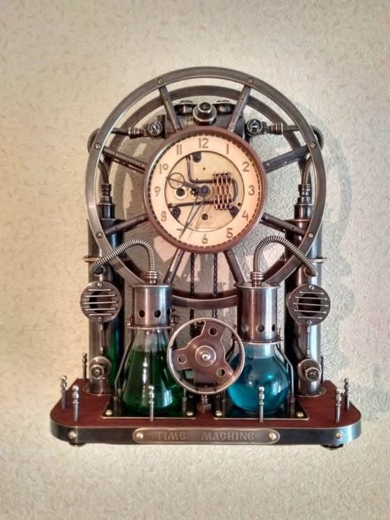 Steampunk,steam-mechanical chronometer Time Machine. Steampunk universal desktop-wall clock. 2