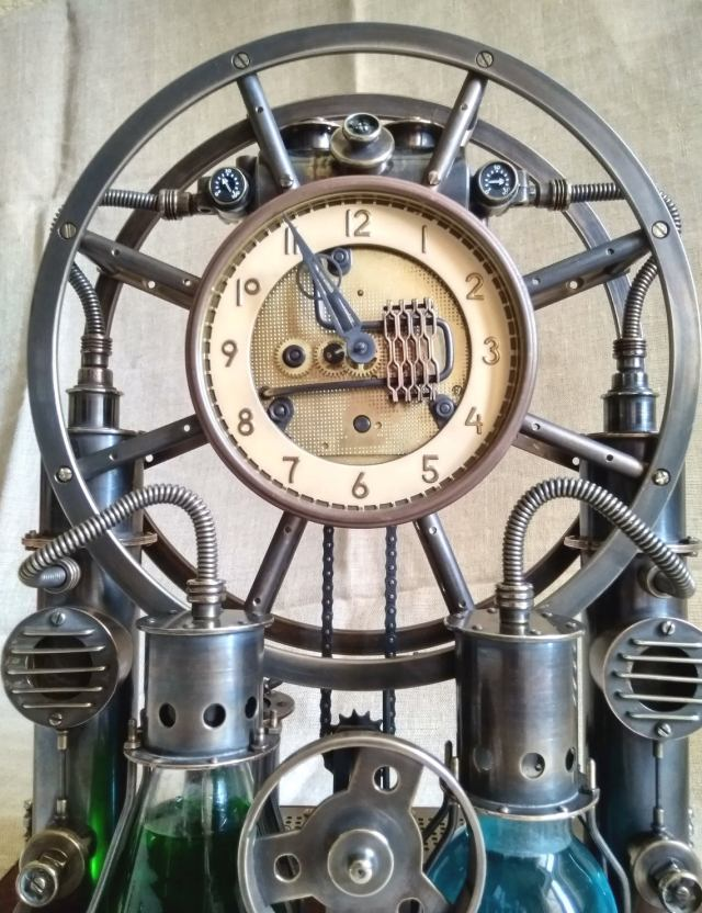 Steampunk,steam-mechanical chronometer Time Machine. Steampunk universal desktop-wall clock. 5