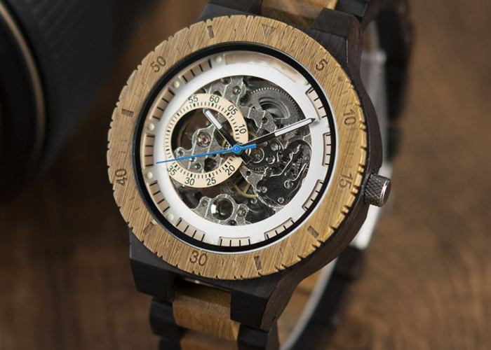 Wooden Steampunk Skeleton Wristwatch Watch. 1