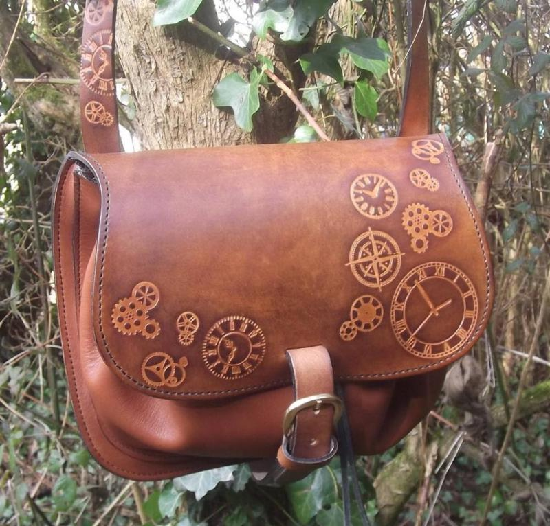 Steampunk Design Decorated Leather Cross Bag/Purse. 1