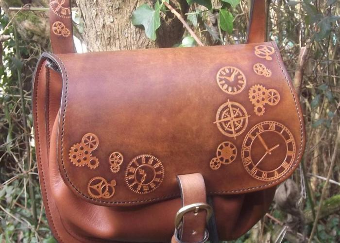 Steampunk Design Decorated Leather Cross Bag/Purse. 1