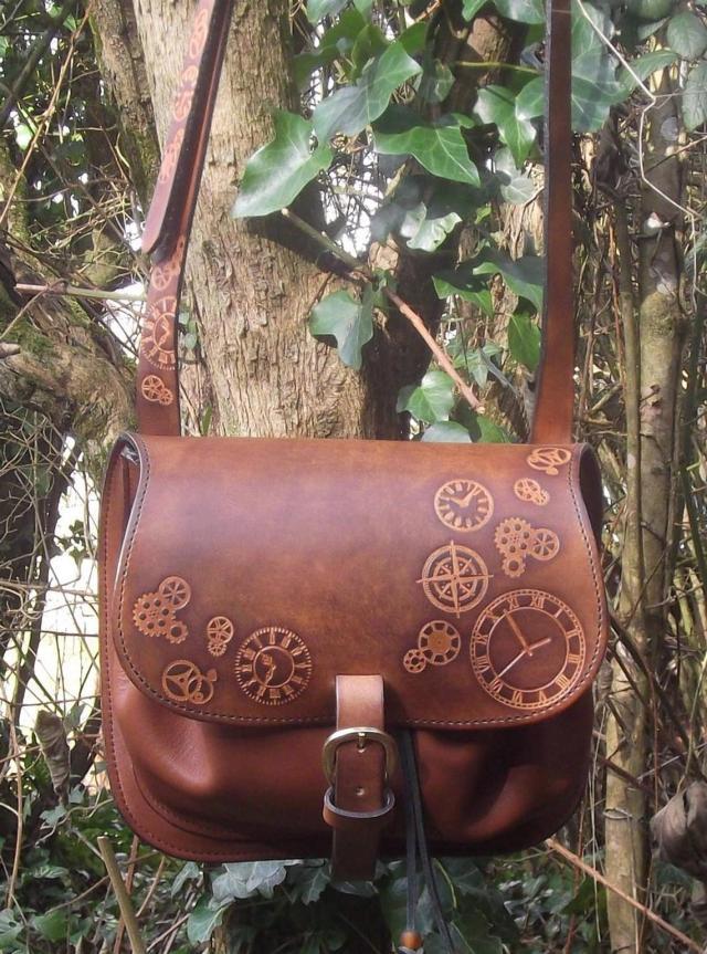 Steampunk Design Decorated Leather Cross Bag/Purse. 3