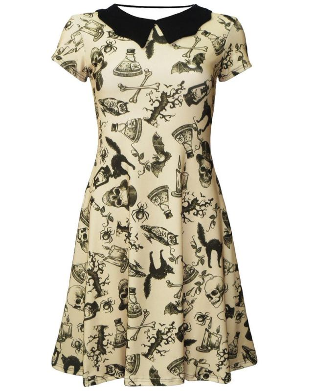 Spooky Steampunk Print Style Dress. front