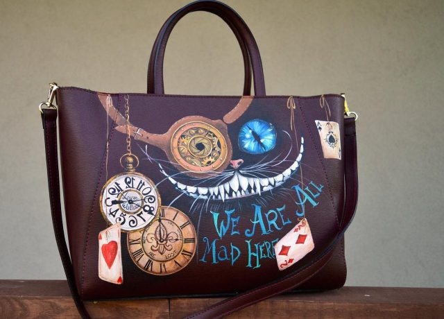 Large purse Hand painted Cheshire Cat art. Steampunk leather purse with handwriting.