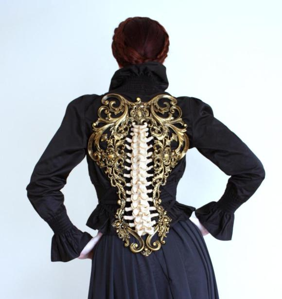 Gold & Bone Spine Metallic Latex Rubber Filigree Back Piece Armour Harness Steampunk Gothic Fantasy Skeleton 1