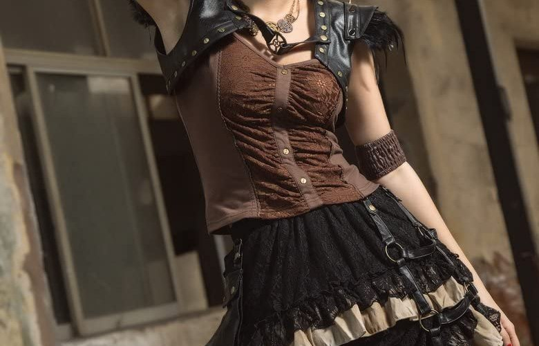 HaoLin Steampunk Victorian Gothic Lace Skirt Pirate Renaissance Costume With Fanny Pack 4