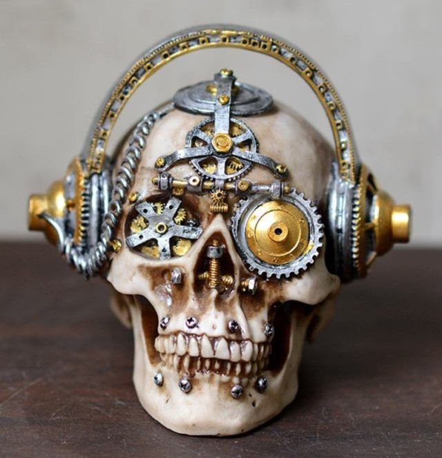 Steampunk mechanical gear skulls.1