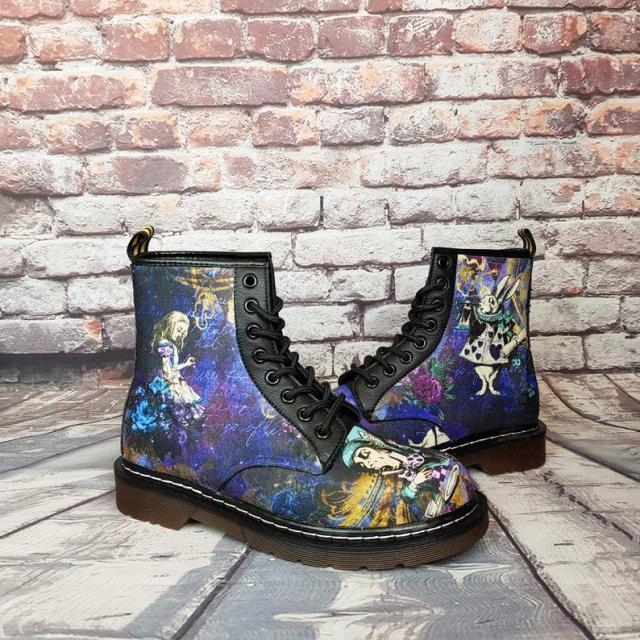 Alice in wonderland, alice in wonderland shoes, original, steampunk, custom shoes, women boots, gift for her, vegan leather, christmas gift