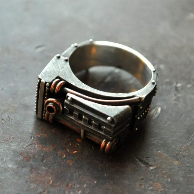 """Industrial steampunk mens ring unique """"Oppugnarendum"""" 