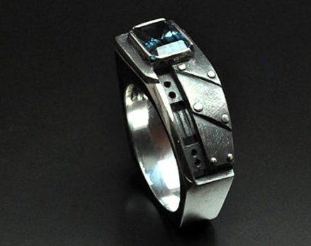 "Men's pinky London blue topaz ring ""Interrogendum"" | Sterling silver men's ring | Birthstone ring for men | Steampunk ring fine jewelry  2"