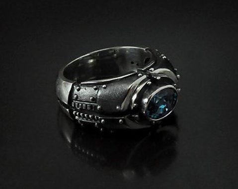 "Mens ring blue topaz ""Piorundum"" | Mens engagement silver ring | Chunky topaz birthstone mens ring | Silver signet custom gemstone ring  2"