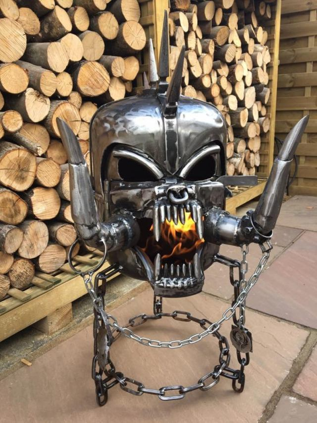 Motorhead Snaggletooth Fire Pit - Warpig Fire Pit - Motorhead Wood Burner - Metal Art  1
