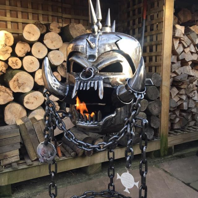 Motorhead Snaggletooth Fire Pit - Warpig Fire Pit - Motorhead Wood Burner - Metal Art  3