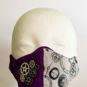 SteamPunkDesignUK Stunning handmade Steampunk facemask. Comfortable and breathable triple layer cotton/poly cotton material. Adjustable straps for a snug fit.