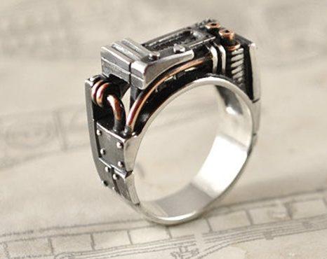 "Steampunk Industrial Silver Ring ""Resurgerendum"" | Unique Mens Silver Ring | Contemporary Silver Mens Ring  2"