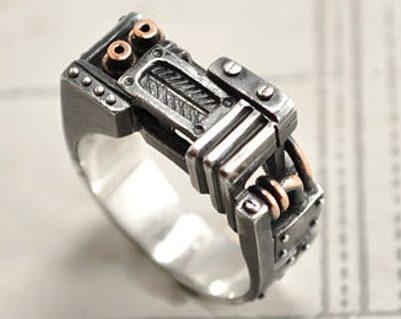 "Steampunk Industrial Silver Ring ""Resurgerendum"" | Unique Mens Silver Ring | Contemporary Silver Mens Ring  3"