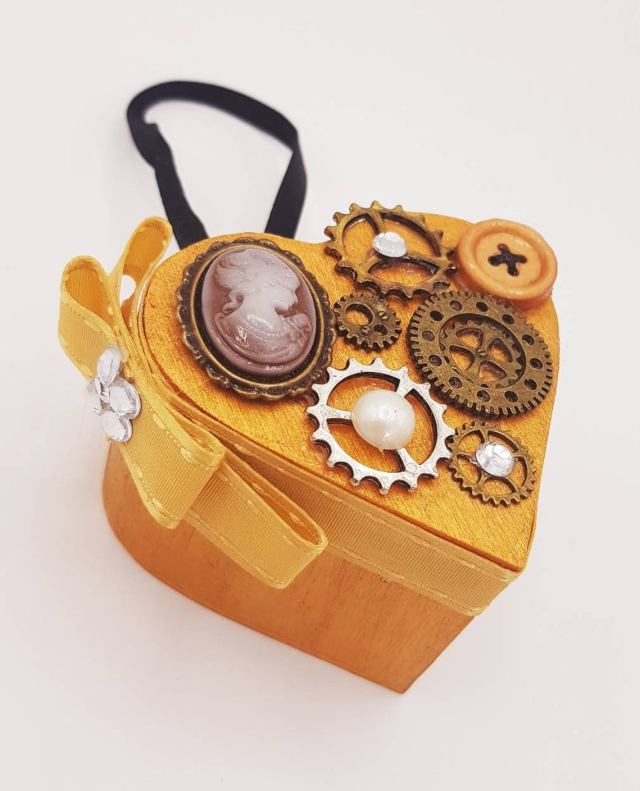 Steampunk Shabby Chic Heart Secret Compartment Hanging Decoration Christmas Xmas Tree Proposal Love Gift
