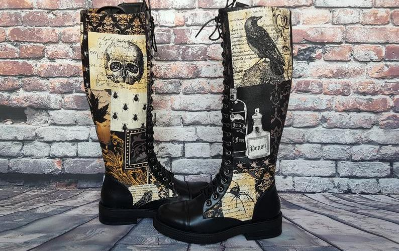 "Steampunk Themed Boots from ""Rock Your Sole""."