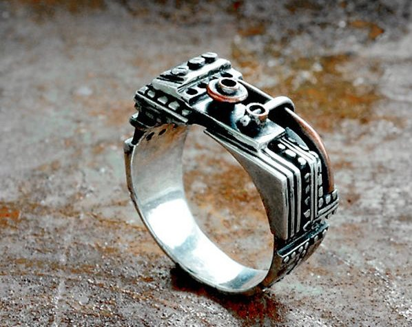 """Steampunk sterling silver ring """"Praeirendum"""" 