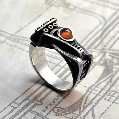 "Sterling silver steampunk carnelian ring ""Spiralemus"" | Contemporary modern unconventional statement ring | Unusual statement ring  1"