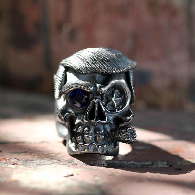 Donald Trump Skull Ring Men Cigar By Deific. Limited Edition 1 Of 2, Sterling Silver Skull Mens Ring, Custom Ring, Biker Ring, Gothic Ring  3