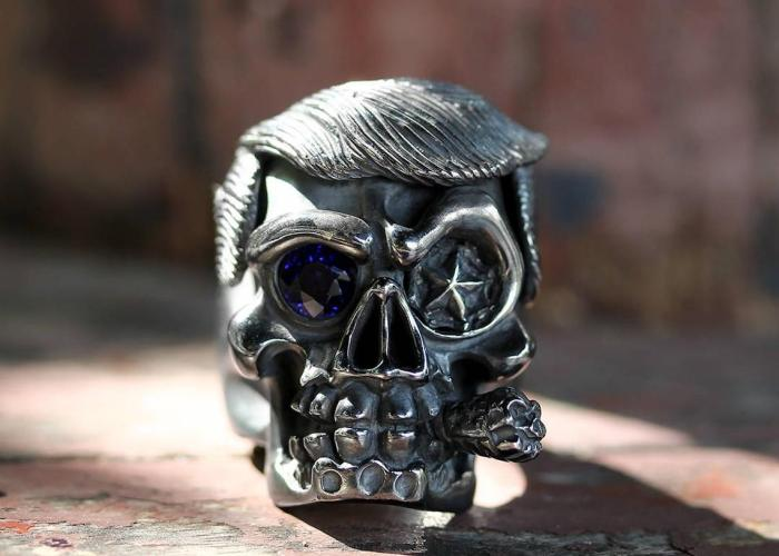 Donald Trump Skull Ring Men Cigar By Deific. Limited Edition 1 Of 2, Sterling Silver Skull Mens Ring, Custom Ring, Biker Ring, Gothic Ring