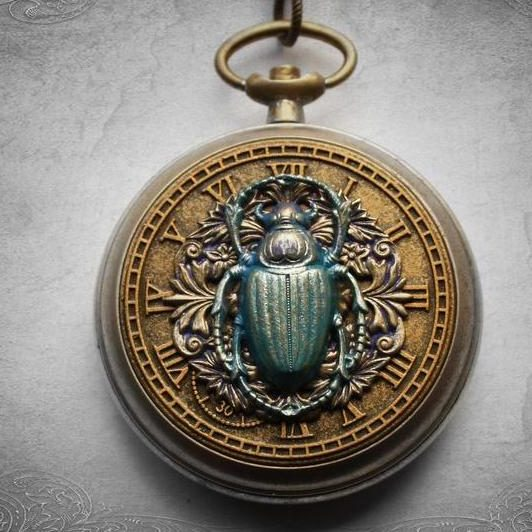 Scarab beetle Steampunk pocket watch case pendant in antique gold & blue / Egyptian Fantasy necklace jewelry for alt ladies / Chain sold sep 2