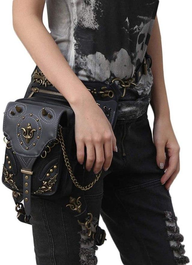 Steampunk Leather Crossbody Shoulder Tote Handbag Messenger Gothic Waist Bag Fanny Pack Motorcycle Drop Leg Bag Hip Holster Belt Purse Pouch Chain Travel Wallet for Women Men  1