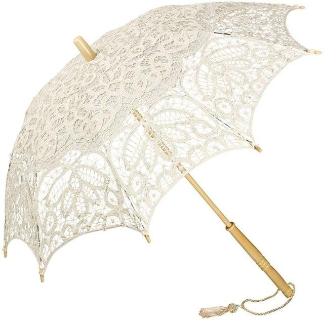 VON LILIENFELD® Lace Bridal Wedding Umbrella Parasol Woman Vivienne, Creme 3