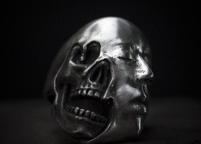 Handmade Steampunk Skull & Face Mask 925 Silver Ring.