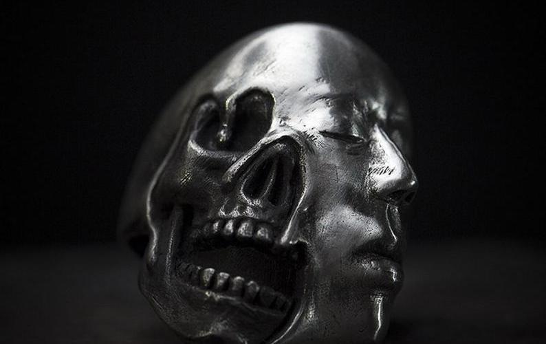 Handmade Steampunk Skull & Face Mask 925 Silver Ring.