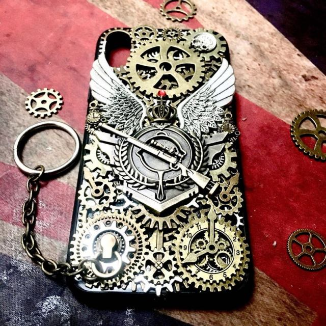Personalised-Steampunk-Phone-Case-Handmade-Rocker-Punk-Biker-Heavy-Metal-Movable-Gears-Gothic-Mobile-Phone-Case-Back-Cover-