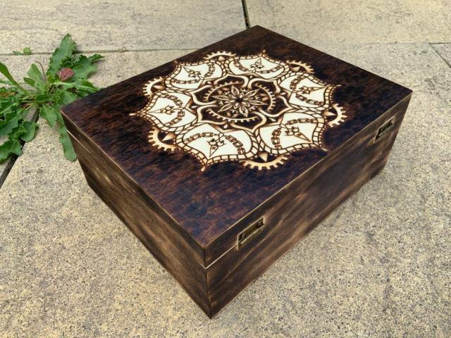 Large Steampunk mandala geometric wooden keepsake box, unusual hippie boho home decor, stash box stoner, gift for her, original art, burnt  2